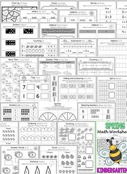 Kindergarten Spring Worksheets (Kindergarten Math Worksheets - SPRING NO PREP)