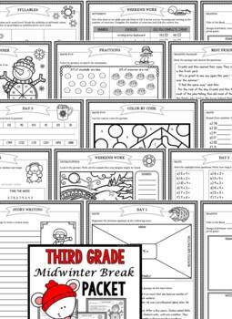 Third Grade Mid Winter Break Packet (Third Grade Homework)