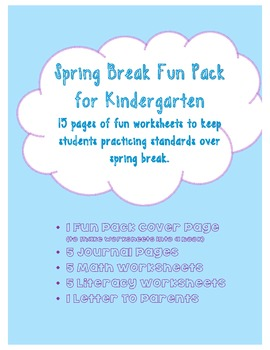 Spring Break Fun Pack: Homework for Kindergarten