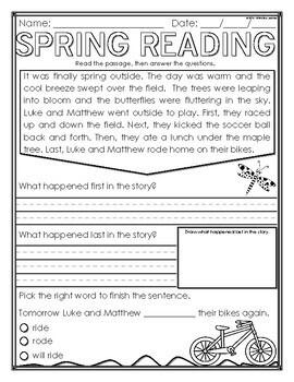 Spring Break Homework Packet (April) Spring Activities