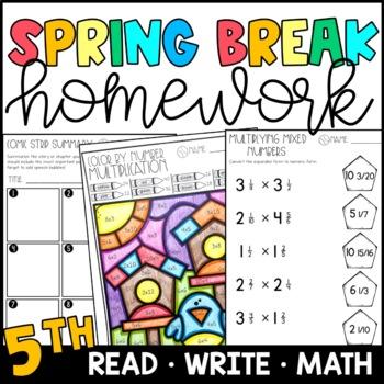 Spring Break Homework Packet 5th Grade