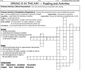 Spring Break Informational / Functional Chunked Reading and Writing Activities