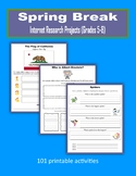 Spring Break Internet Research Projects (Grades 5-8) - Distance Learning