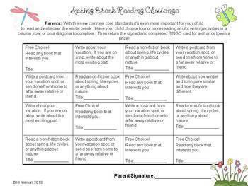 Reading Challenge- April/Spring K-5