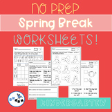 Spring Break Kindergarten Packet of Worksheets: Common Cor