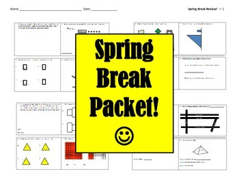 Spring Break Math Packet freebie
