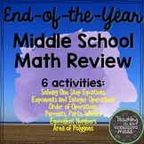 Middle School Math Review Spring Break NO PREP Packet #2
