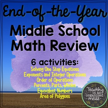 End Of Year Middle School Math Review--NO PREP Packet #2