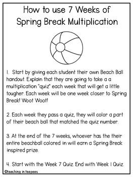 Spring Break Multiplication Countdown