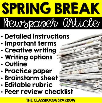 Spring Break Writing - Newspaper Article Activity