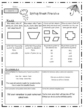 Spring Break Packet 4thGrade Edition  *Common Core Aligned