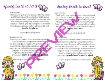 Spring Break Packet Parent Letter