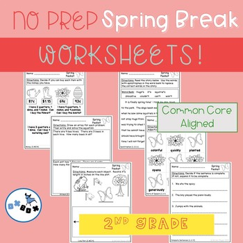Spring Break Packet of Worksheets Second Grade: Common Core Aligned (NO PREP)