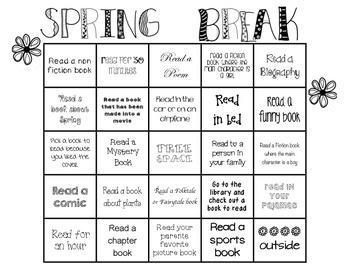 Spring Break Reading BINGO