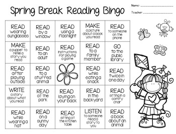 Spring Break Reading Bingo