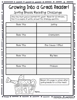 School Break / Holiday Reading Homework Challenges: Spring Break