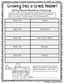 School Break / Holiday Reading Homework Challenges: Spring Break