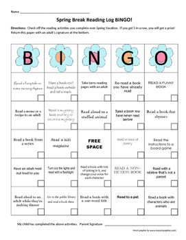 Spring Break Reading Log Bingo!