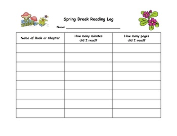 Spring Break Reading Log Grades K-5