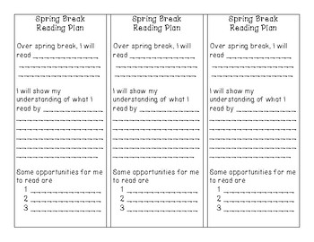 Spring Break Reading Plan Bookmarks (can be used as homework or enrichment)