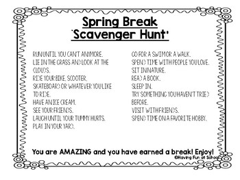 Spring Break Scavenger Hunt