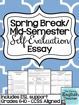 Spring Break Selfevaluation Essay  Included Esl Student Support