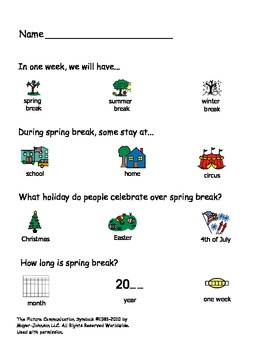 Spring Break Themed Activities for an Autism Classroom!