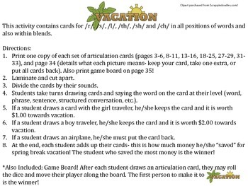 Spring Break Vacation Artic Card Game- Also includes game board!