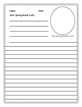 Spring Break Writing Activity