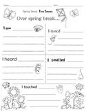 Spring Break Writing Prompt - Five Senses