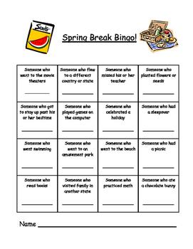 Spring Break Writing and Bingo