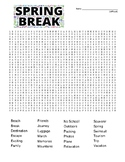Spring Break difficult word search and coloring page  (use in SUB PLAN?)