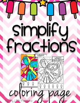 Spring Break or Summer Simplify Fractions Coloring