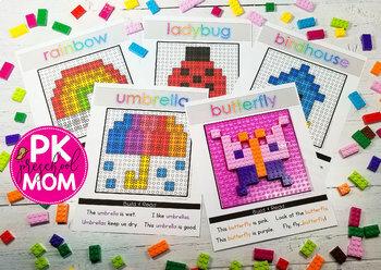 Spring Brick Building Mats: Math & Reading Activities