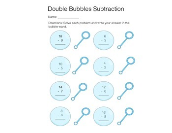 Spring Bubble Doubles Subtraction
