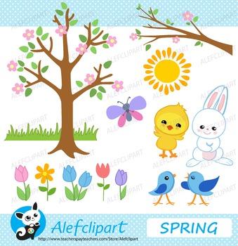 Spring Buddies.Digital Clipart