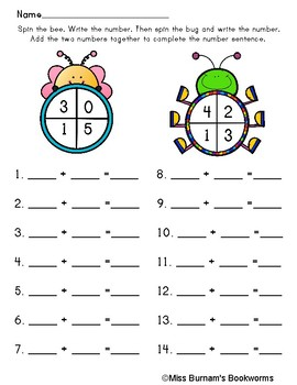 Spring Bug Addition and Subtraction Spinner Game