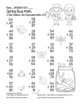 """""""Spring Bug Math"""" 2 Digit Addition With Regrouping - Common Core! (black line)"""