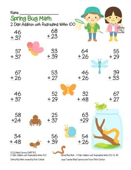 """""""Spring Bug Math"""" 2 Digit Addition With Regrouping - Common Core! (color)"""