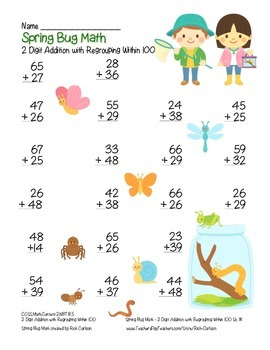 """Spring Bug Math"" 2 Digit Addition With Regrouping Common Core (color&blackline)"