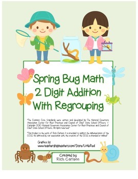 """Spring Bug Math"" 2 Digit Addition With Regrouping Common"