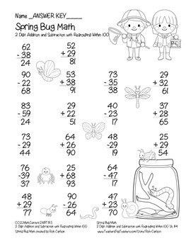 """""""Spring Bug Math"""" 2 Digit Subtract & Add Regrouping - Common Core! (black line)"""