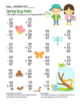 """Spring Bug Math"" 2 Digit Subtract & Add Regrouping - Common Core! (color)"