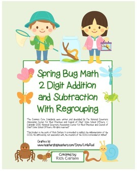 """""""Spring Bug Math"""" 2 Digit Subtract & Add Regrouping - Comm"""