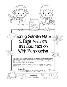 """""""Spring Bug Math"""" 2 Digit Subtract & Add Regrouping Common Core(color&blackline)"""
