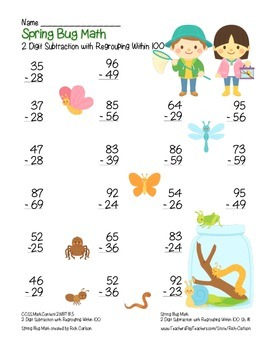"""""""Spring Bug Math"""" 2 Digit Subtraction Regrouping Common Core (color&blackline)"""
