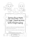 """Spring Bug Math"" 2 Digit Subtraction With Regrouping Common Core! (black line)"