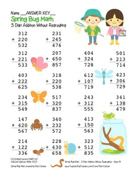 """Spring Bug Math"" 3 Digit  Addition Without Regrouping  - Fun! (color)"