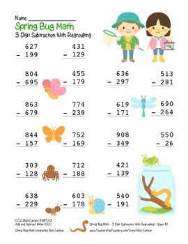 """Spring Bug Math"" 3 Digit  Subtraction Regrouping  - Common Core - Fun! (color)"