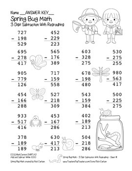 """Spring Bug Math"" 3 Digit Subtraction Regrouping  - Common Core  (black line)"